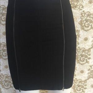 TRF ZARA black front and back zipper skirt